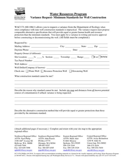 Form ECY070-299  Printable Pdf