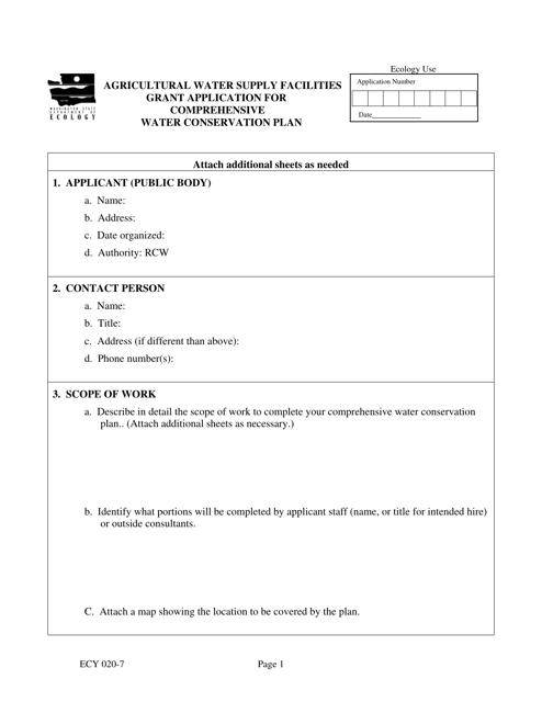 Form ECY020-7  Printable Pdf