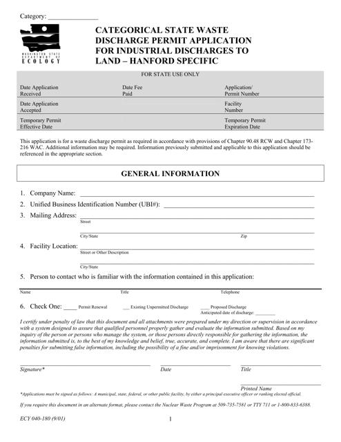 Form ECY040-180  Printable Pdf