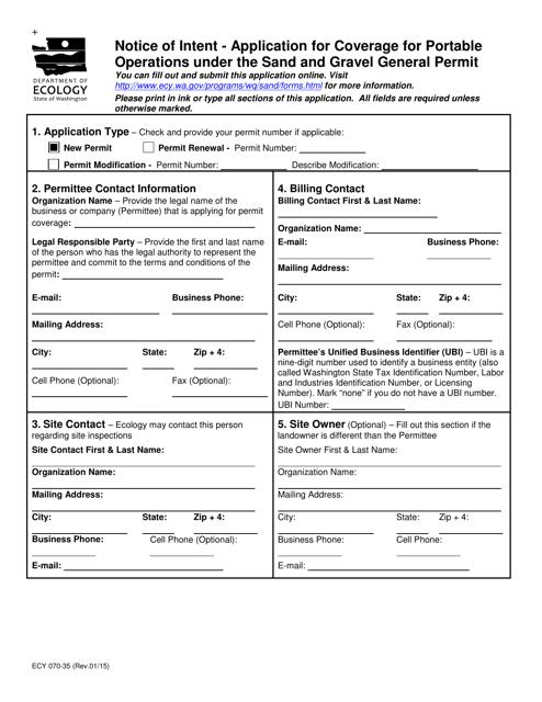 Form ECY070-35  Printable Pdf