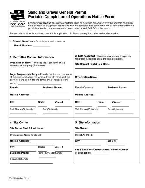 Form ECY070-30  Printable Pdf