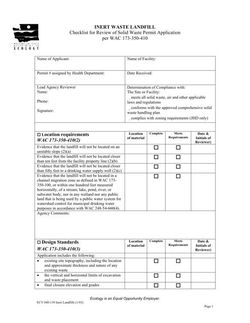 Form ECY040-139  Printable Pdf