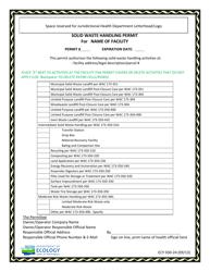 """Form ECY030-24 """"Solid Waste Handling Permit"""" - Washington"""