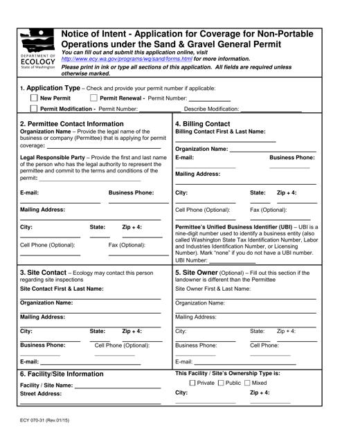 Form ECY070-31  Printable Pdf