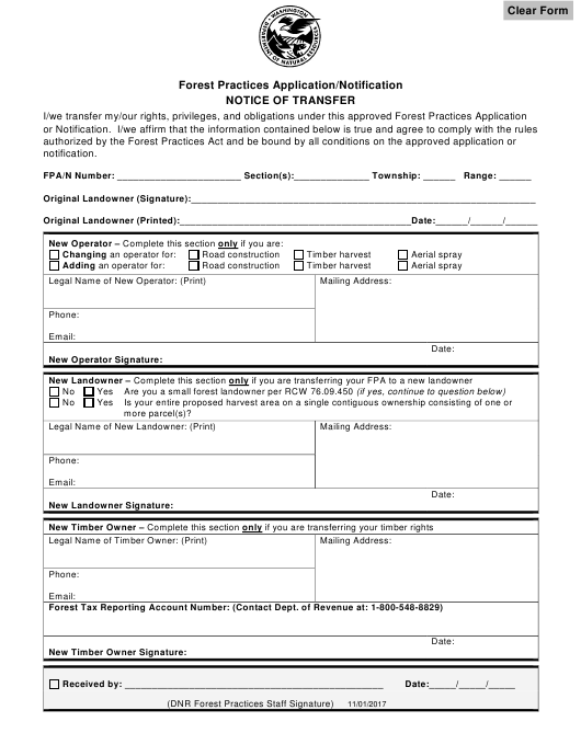 """Forest Practices Application/Notification Notice of Transfer"" - Washington Download Pdf"