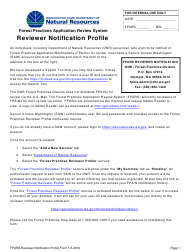 """Forest Practices Application Review System Reviewer Notification Profile Form"" - Washington"