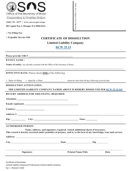 """""""Certificate of Dissolution - Limited Liability Company"""" - Washington Download Pdf"""