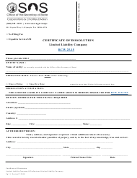 """Certificate of Dissolution - Limited Liability Company"" - Washington"