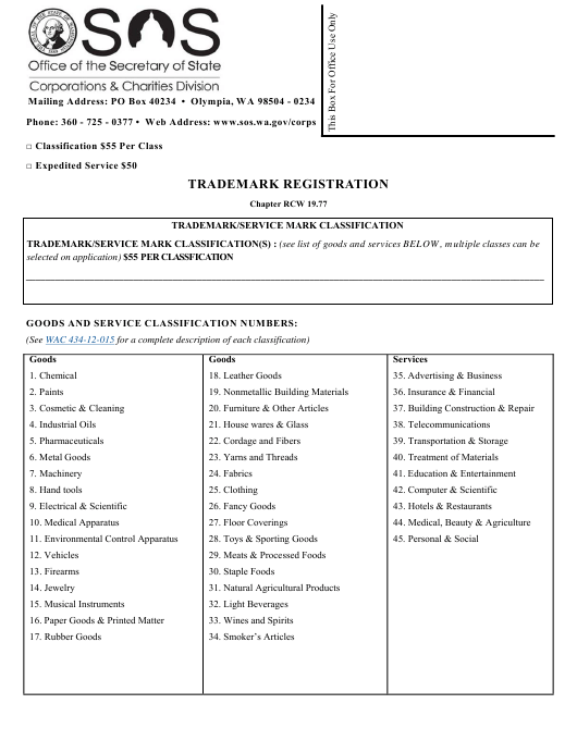 Form Download Fillable Pdf Or Fill Online Trademark