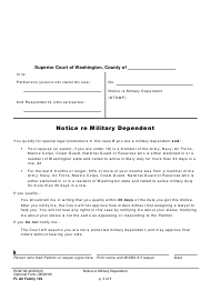 "Form FL All Family103 ""Notice Re Military Dependent"" - Washington"