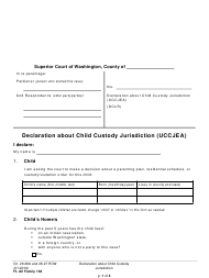 "Form FL All Family138 ""Declaration About Child Custody Jurisdiction (Uccjea)"" - Washington"