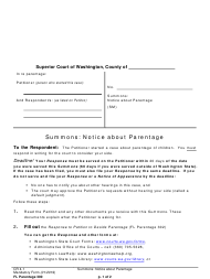 "Form FL Parentage300 ""Summons: Notice About Parentage"" - Washington"