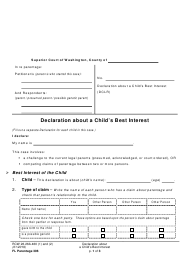 "Form FL Parentage306 ""Declaration About a Child's Best Interest"" - Washington"