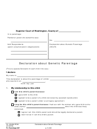 "Form FL Parentage307 ""Declaration About Genetic Parentage"" - Washington"