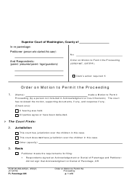 "Form FL Parentage305 ""Order on Motion to Permit the Proceeding"" - Washington"
