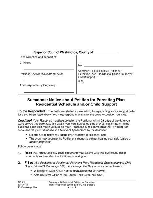 Form FL Parentage330  Printable Pdf
