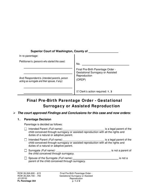 Form FL Parentage354  Printable Pdf