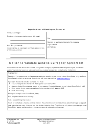 "Form FL Parentage363 ""Motion to Validate Genetic Surrogacy Agreement"" - Washington"