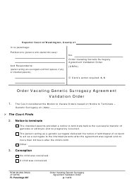 "Form FL Parentage367 ""Order Vacating Genetic Surrogacy Agreement Validation Order"" - Washington"
