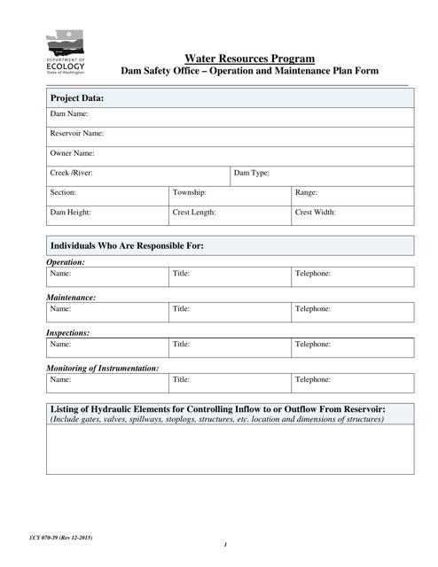 Form ECY070-39  Printable Pdf