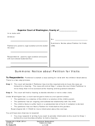 "Form FL Visits475 ""Summons: Notice About Petition for Visits"" - Washington"