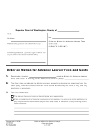 "Form FL Visits482 ""Order on Motion for Advance Lawyer Fees and Costs"" - Washington"