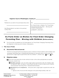 "Form FL Relocate707 ""Ex Parte Order on Motion for Final Order Changing Parenting Plan - Moving With Children (Relocation)"" - Washington"