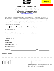 "Form 3000-240-019 ""Bank Card Authorization"" - Washington"