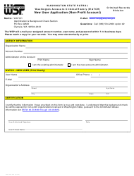 "Form 3000-240-062 ""New User Application (Non-profit Account)"" - Washington"