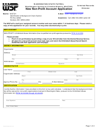 "Form 3000-240-064 ""Washington Access to Criminal History (Watch) New Non-profit Account Application"" - Washington"