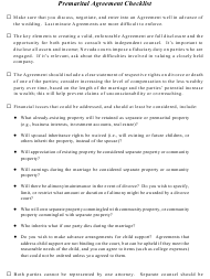 """Premarital Agreement Checklist - Willick Law Group"""