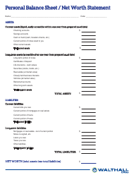 """Personal Balance Sheet/Net Worth Statement Template - Walthall"""