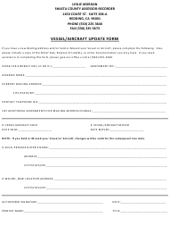 """""""Vessel/Aircraft Update Form"""" - Shasta County, California"""