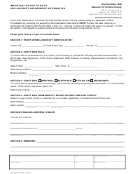 "Form AO-VBA550 ""Important Notice of Boat and Aircraft Assessment Information"" - Ventura County, California"