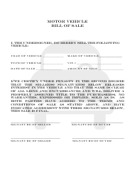 Motor Vehicle Bill of Sale - Colorado