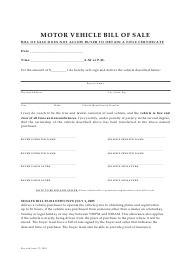 Motor Vehicle Bill of Sale - Eagle County, Colorado