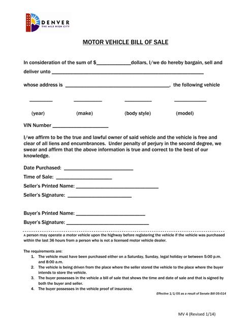 Motor Vehicle Bill Of Sale >> Form Mv4 Download Printable Pdf Or Fill Online Motor Vehicle