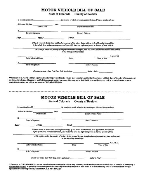Colorado Vehicle Bill Of Templates