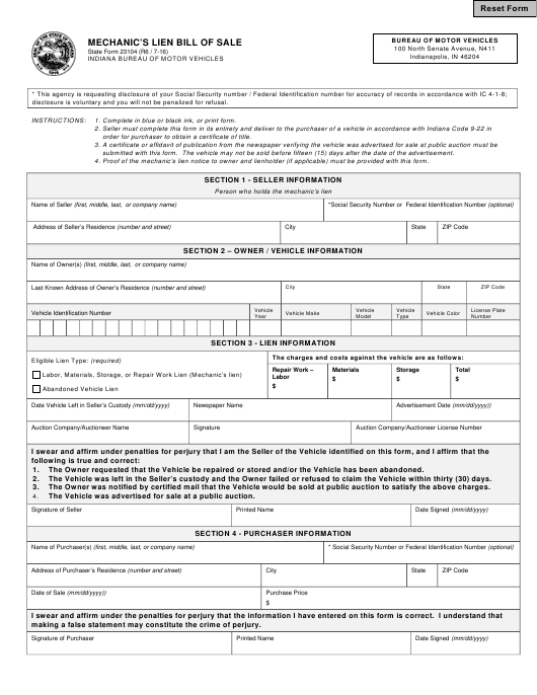 State Form 23104  Printable Pdf