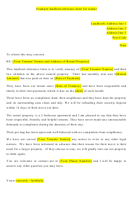 """""""Landlord Reference Letter for Tenant"""""""