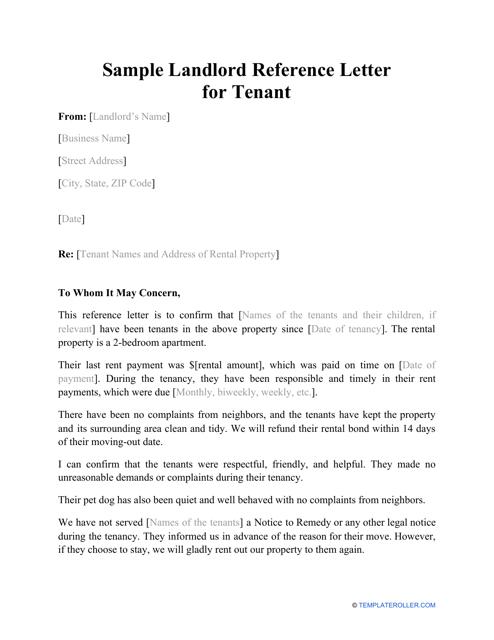 "Sample ""Landlord Reference Letter for Tenant"" Download Pdf"
