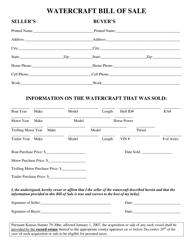 """""""Watercraft Bill of Sale"""" - Butler County, Kansas"""