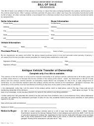 Form TR-312 Vehicle Bill of Sale - Kansas