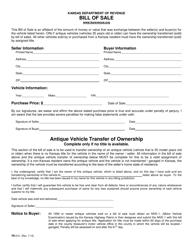 "Form TR-312 ""Vehicle Bill of Sale"" - Kansas"