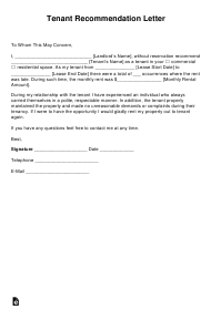 """""""Tenant Recommendation Letter Template"""""""