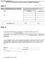 """Form SSA-7028 """"Notice to Third Party of Social Security Number Assignments"""""""