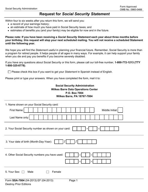 Form SSA-7004 Printable Pdf