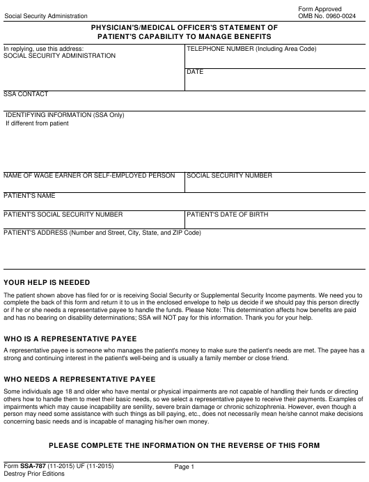 Form SSA-787  Printable Pdf