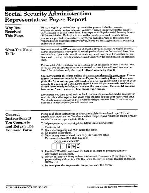 Form SSA-6230-OCR-SM Printable Pdf