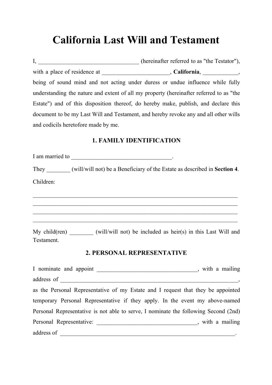 California Last Will And Testament Download Printable Pdf